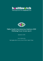 Public Health Commissioning Intentions 2020 – Wellbeing focus groups report (Sept 2018)